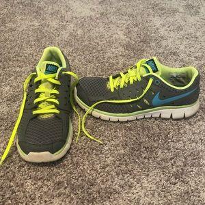 Nike Flex Run 2013 Shoes - Gray/Teal/Neon Yellow